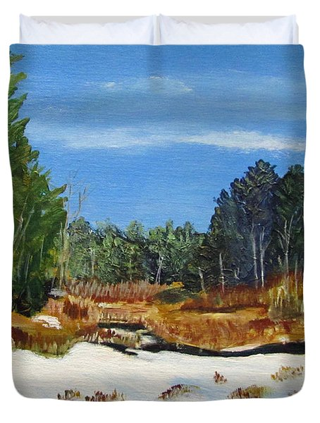 Winter Marsh In Hooksett Duvet Cover