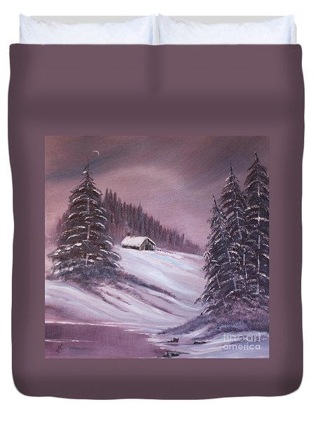 Duvet Cover featuring the painting Winter Moon by Janice Rae Pariza