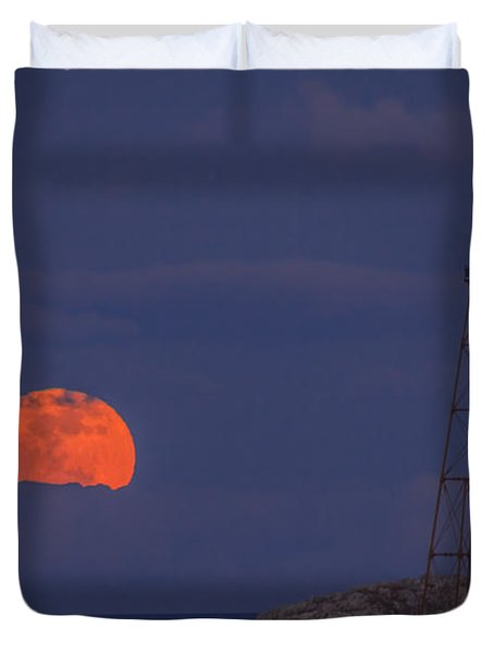 Winter Moon Rising Over Marblehead Light Duvet Cover