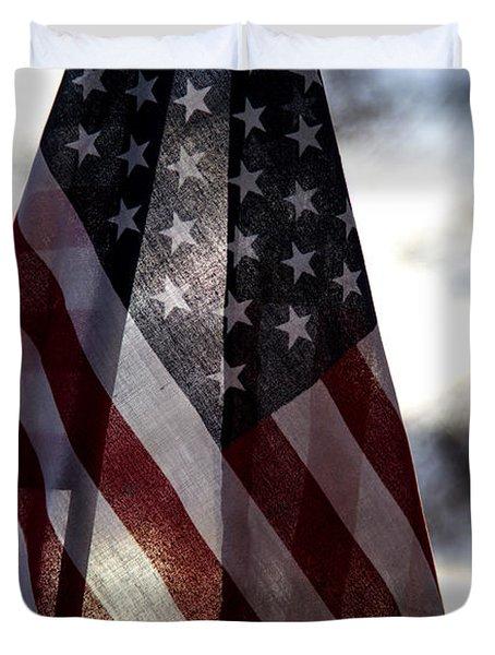 Winter Morning Patriotism Duvet Cover