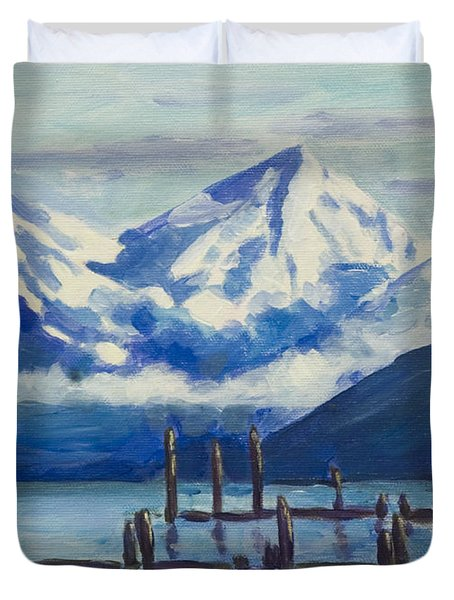 Winter Mountains Alaska Duvet Cover