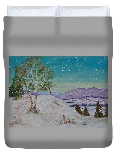 Winter Mountains With Hare Duvet Cover