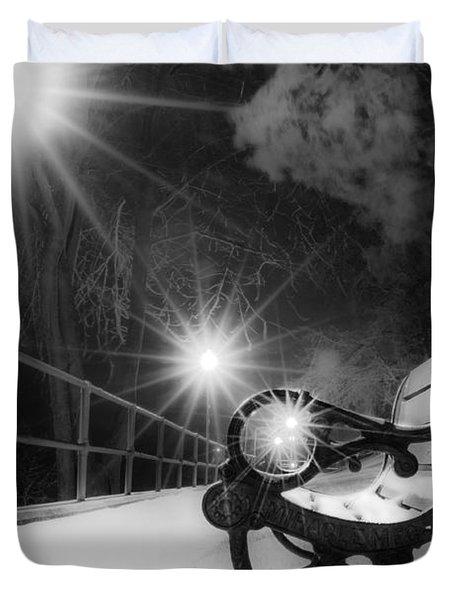 Winter Night Along The River Duvet Cover