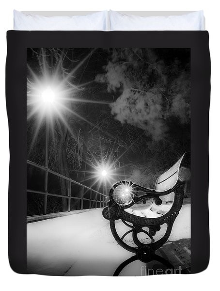 Winter Night Along The River Duvet Cover
