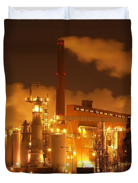 Winter Night At Sunila Pulp Mill Duvet Cover