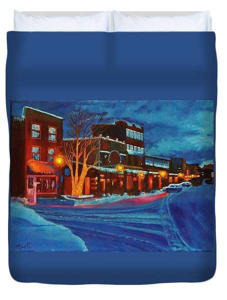 Winter Night In Truckee Duvet Cover by Mike Caitham