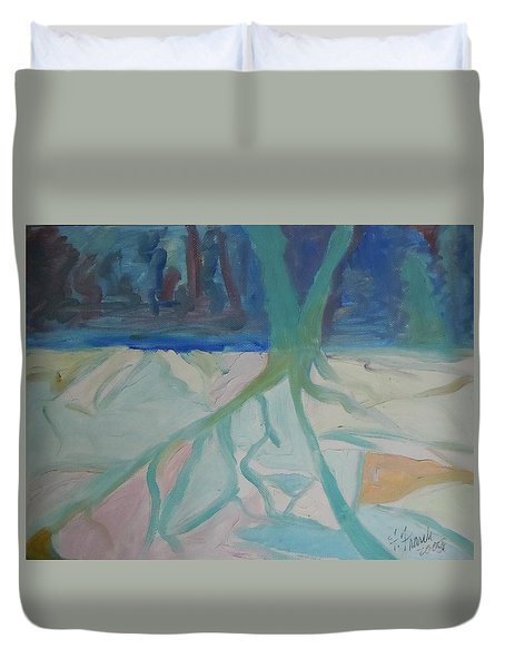 Duvet Cover featuring the painting Winter Night Shadows by Francine Frank