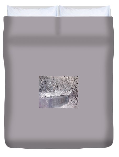 Duvet Cover featuring the painting Winter by Nina Mitkova