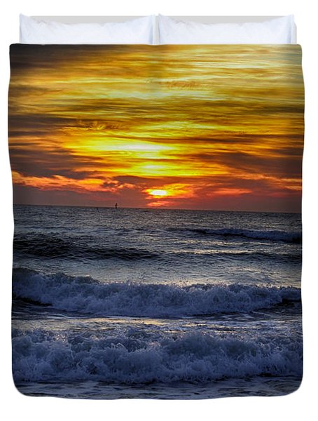 Winter North Carolina Sunrise Duvet Cover by Tony Cooper