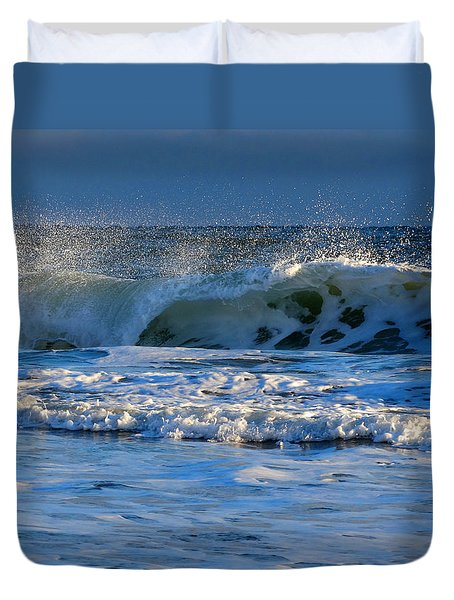 Winter Ocean At Nauset Light Beach Duvet Cover