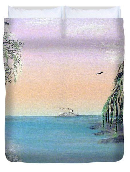 Winter On Lake Ponchartrain Duvet Cover by Alys Caviness-Gober