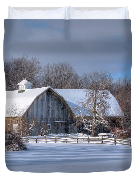 Duvet Cover featuring the photograph Winter On The Farm 14586 by Guy Whiteley