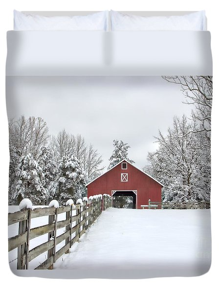 Winter On The Farm Duvet Cover