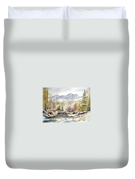 Duvet Cover featuring the painting Winter On The River by Dorothy Maier