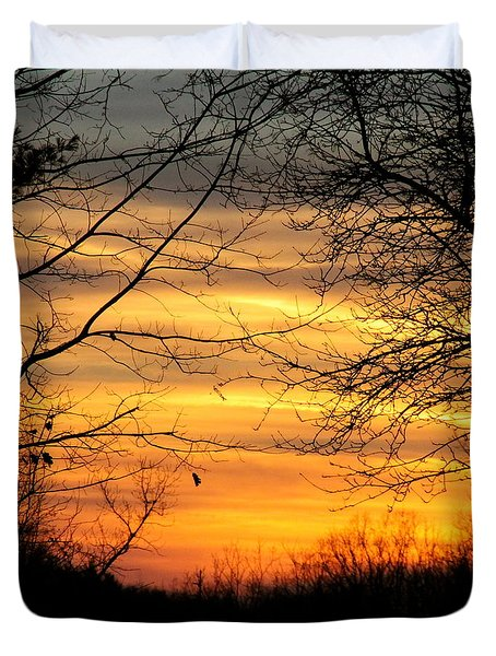 Winter Orange  Duvet Cover by Justin Connor