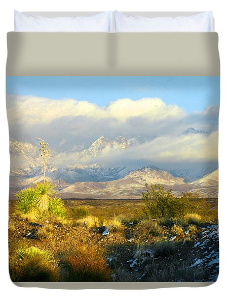 Winter In The Organ Mountains Duvet Cover