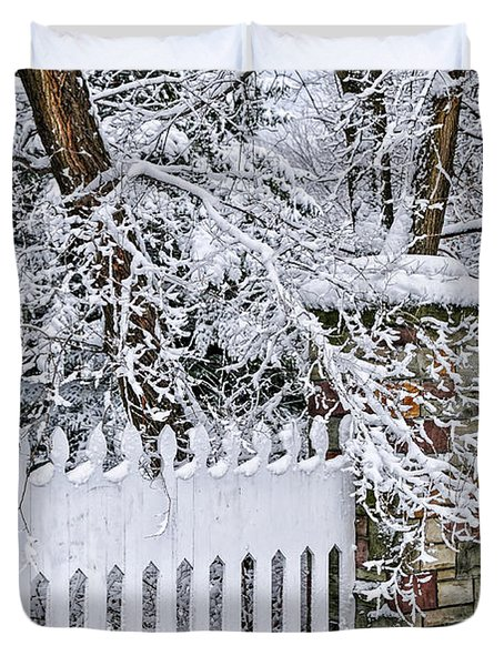 Winter Park Fence Duvet Cover by Elena Elisseeva
