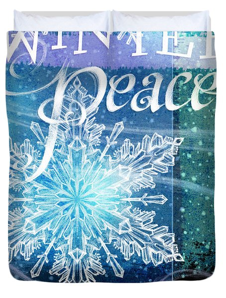 Winter Peace Greeting Duvet Cover