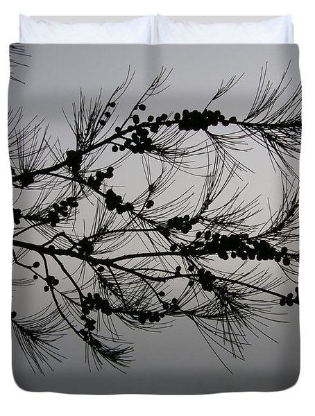 Winter Pine Branch Duvet Cover