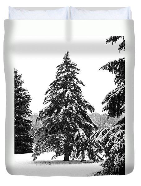 Winter Pines Duvet Cover by Ann Horn