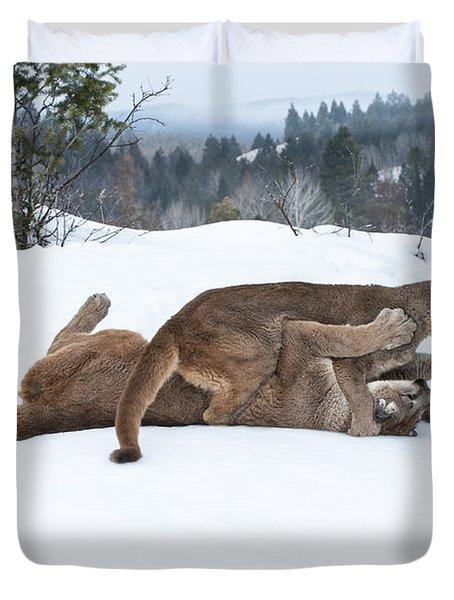 Winter Playground Duvet Cover by Sandra Bronstein