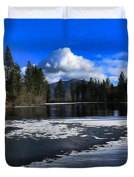 Duvet Cover featuring the photograph Winter Pond Colors by Julia Hassett