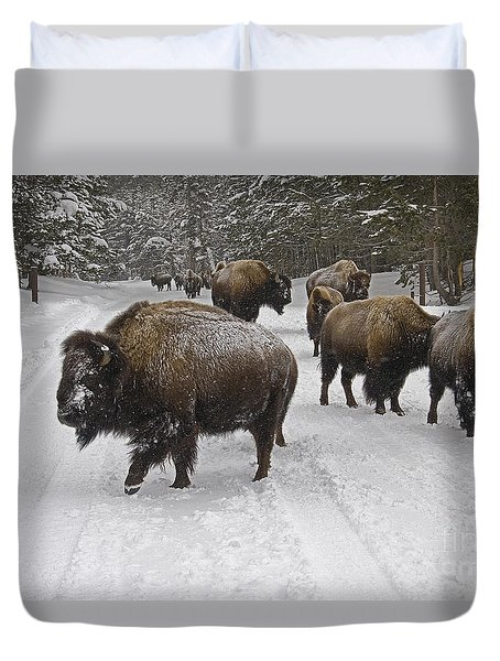 Winter Procession-signed Duvet Cover by J L Woody Wooden
