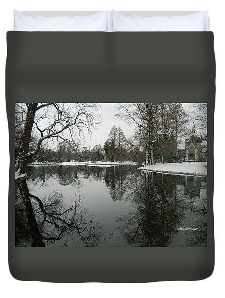 Duvet Cover featuring the photograph Winter Reflections 2 by Kathy Barney