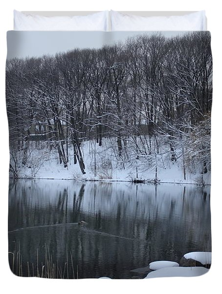 Duvet Cover featuring the photograph Winter Reflections by Dora Sofia Caputo Photographic Art and Design