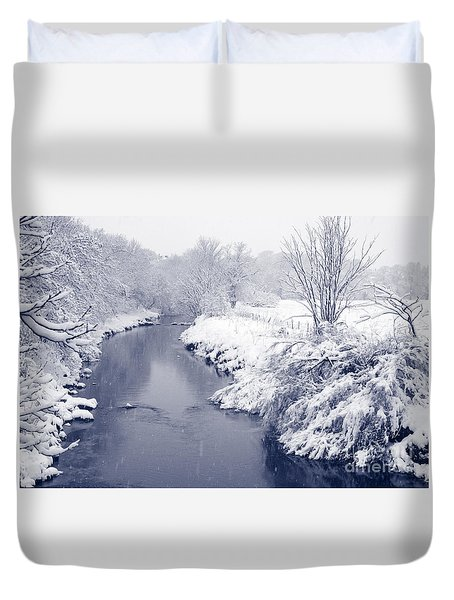 Duvet Cover featuring the photograph Winter River by Liz Leyden