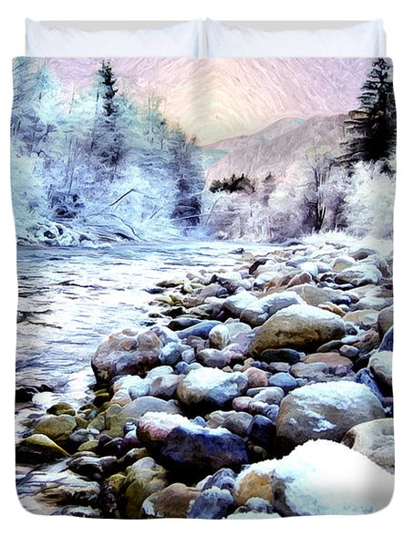 Winter River Duvet Cover by Sabine Jacobs