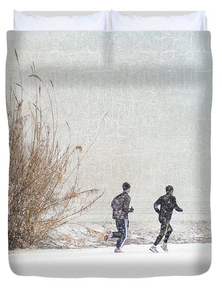 Winter Runners Duvet Cover by Betty LaRue