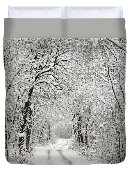 Duvet Cover featuring the photograph Winter Scene 2 by Gabriella Weninger - David