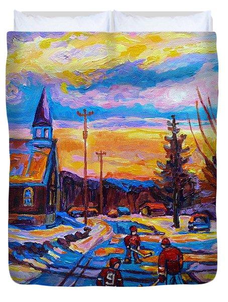 Winter Scene Painting-hockey Game In The Village-rural Hockey Scene Duvet Cover by Carole Spandau