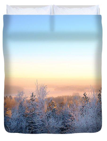 Winter Scenery Of The Lake Hiidenvesi Duvet Cover