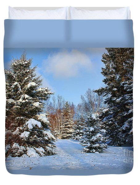 Duvet Cover featuring the photograph Winter Scenery by Teresa Zieba