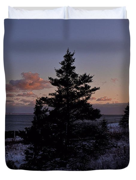 Winter Sentinel Lighthouse Duvet Cover