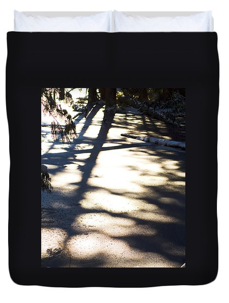 Duvet Cover featuring the photograph Winter Shadows by Yulia Kazansky