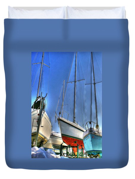Winter Shipyard Duvet Cover