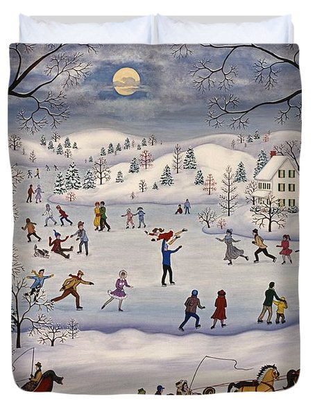 Winter Skating Duvet Cover by Linda Mears