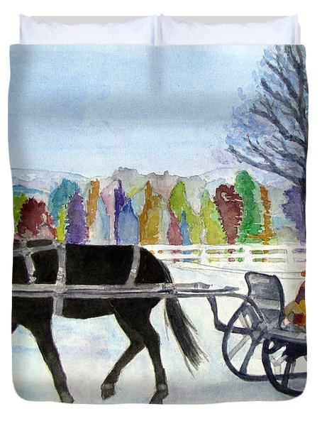 Duvet Cover featuring the painting Winter Sleigh Ride by Carol Flagg