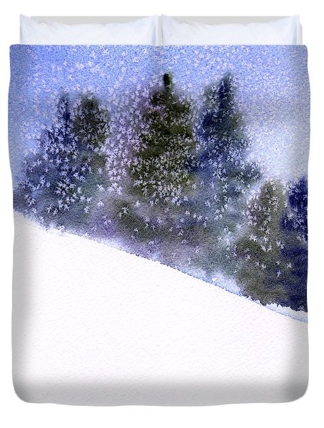 Duvet Cover featuring the painting Winter Snowfall by Anne Duke
