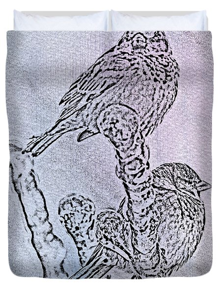 Winter Sparrows 1 Duvet Cover by Betty LaRue
