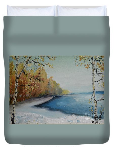 Winter Starts At Kymi River Duvet Cover