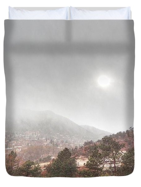 Winter Storm In Summer With Sun Duvet Cover