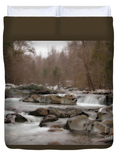 Duvet Cover featuring the photograph Winter Stream by Geraldine DeBoer