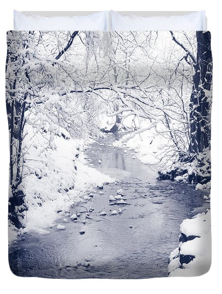 Duvet Cover featuring the photograph Winter Stream by Liz Leyden