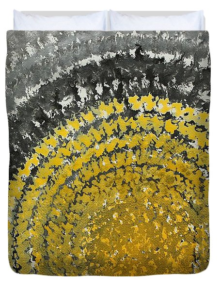 Winter Sun Original Painting Duvet Cover by Sol Luckman