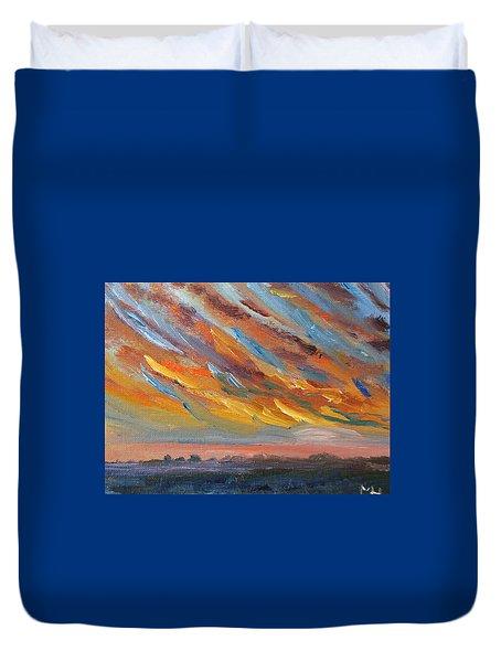 Winter Sunrise Over Provincetown Duvet Cover