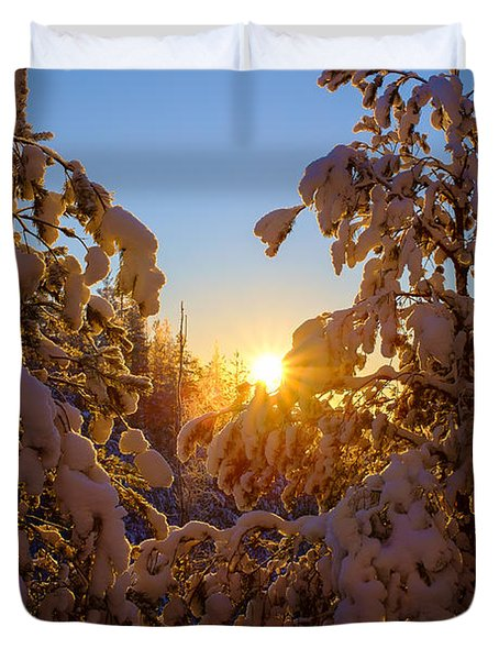 Winter Sunset Behind The Trees Duvet Cover